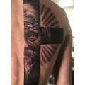 HALF CROSS & CHRIST _ TATTOO BY CYRIL PERRIOLLAT